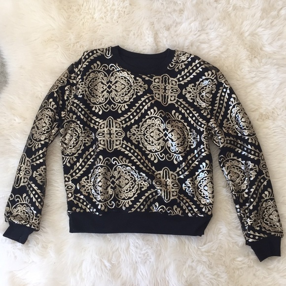 Sweaters - Black and gold Aztec pattern sequin sweater